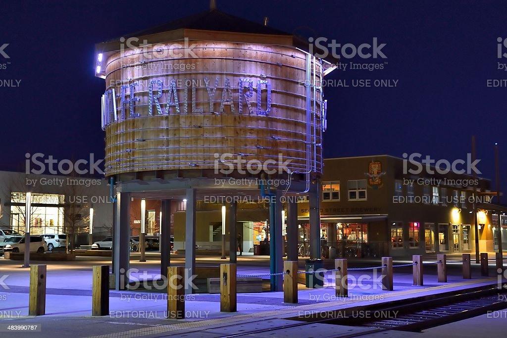 Santa Fe Railyard at Night stock photo