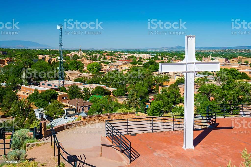 Santa Fe skyline and Cross of the Martyrs stock photo