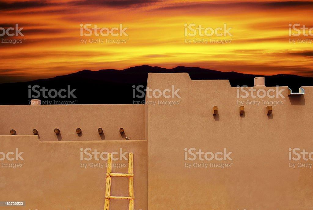 Santa Fe Southwest Adobe Architecture at Sunset stock photo