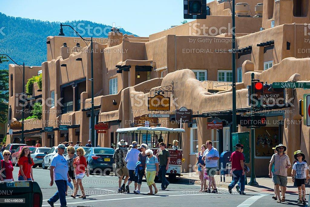 Santa Fe street scene with many pedestrians stock photo