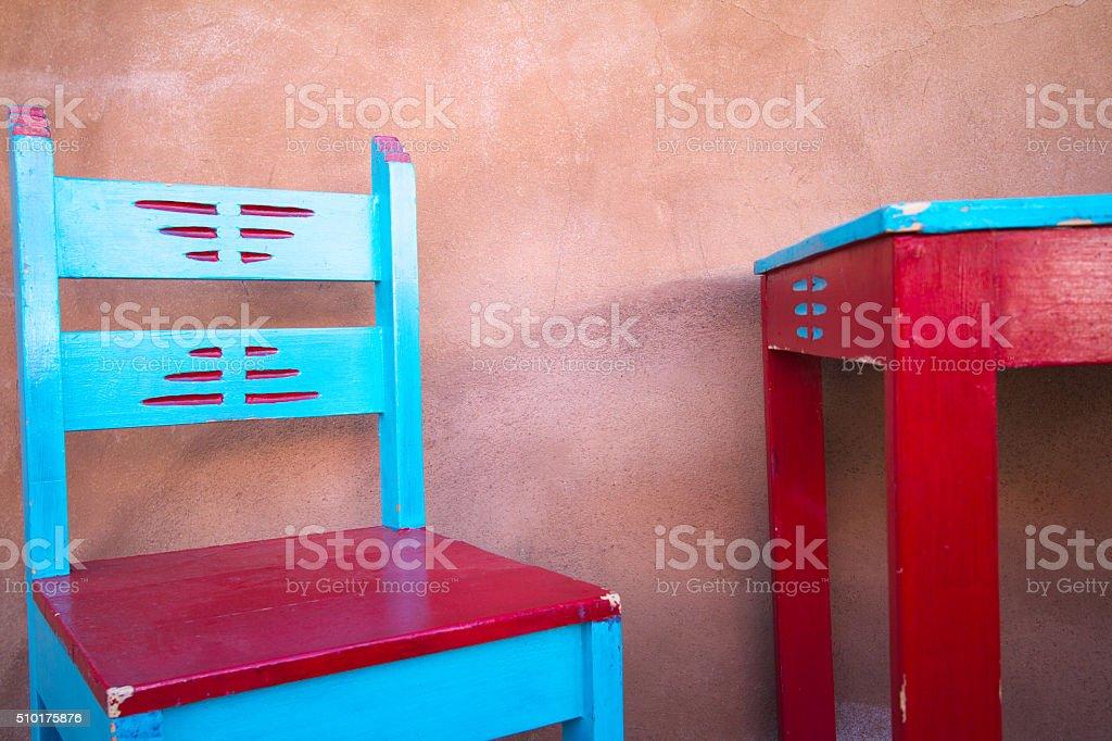 Santa Fe Style: Colorful Rustic Portal (Porch) Furniture stock photo