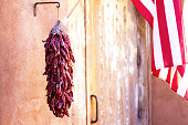 Santa Fe Style: Red Chile Pepper Ristra, US Flag