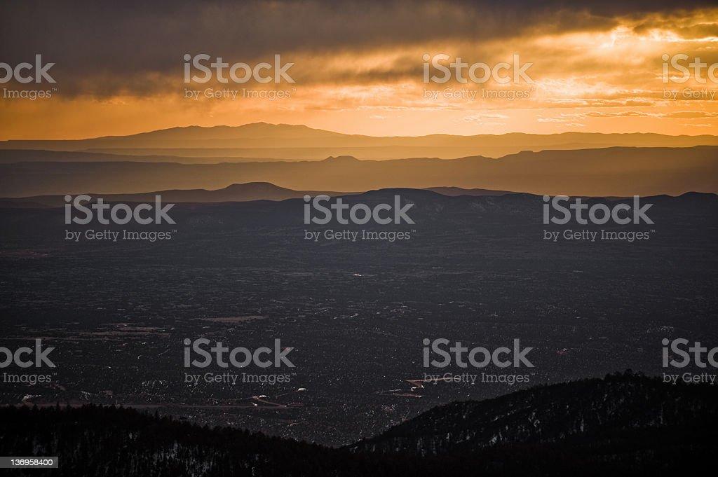 Santa Fe Sunset stock photo