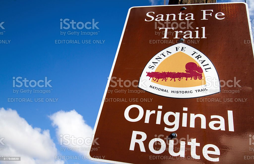 'Santa Fe Trail Original Route' Sign Against Blue Sky stock photo
