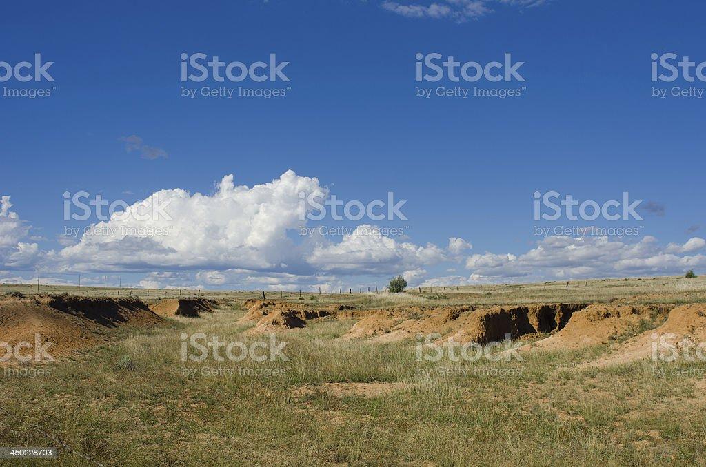 Santa Fe Trail Ruts on the Mountain Branch stock photo