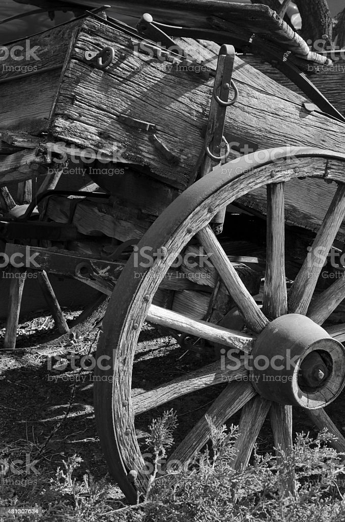 Santa Fe Trail Wagon in the Weeds stock photo