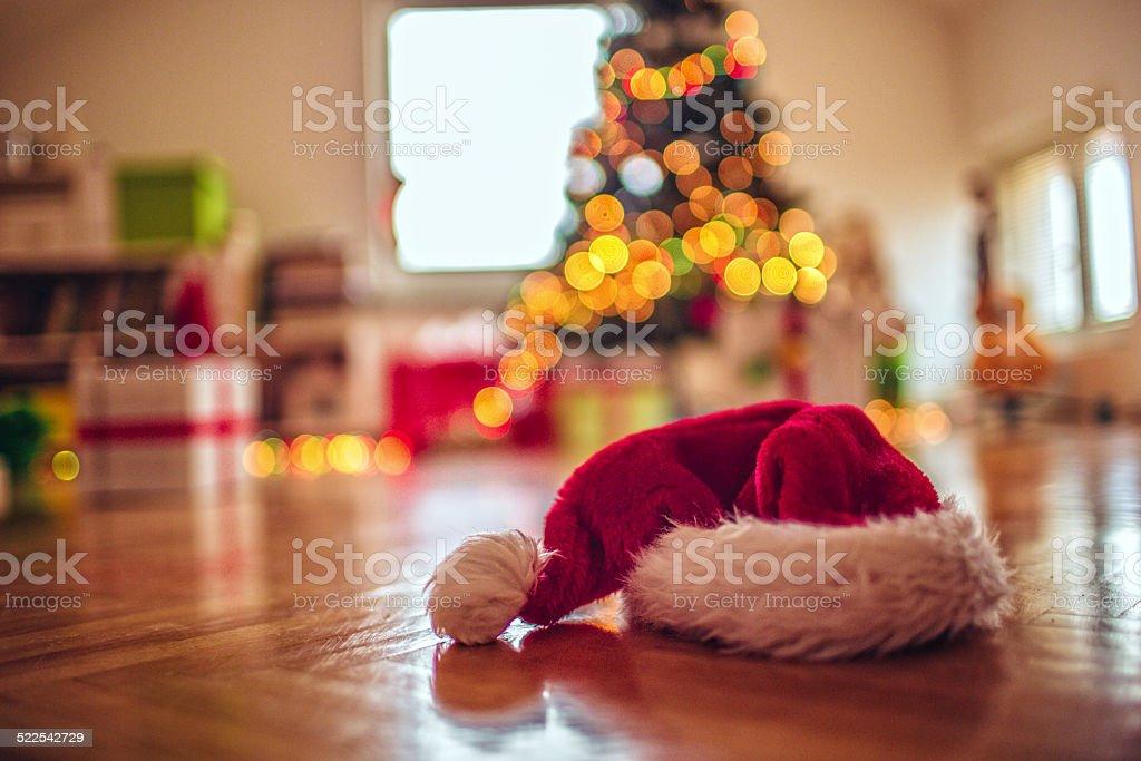 Santa forgot his hat last night stock photo