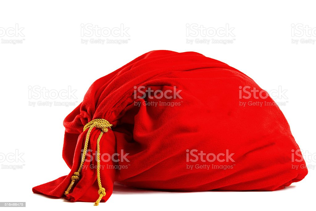 Santa gift bag Isolated on white background stock photo