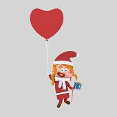 Santa girl flying on a heart balloon.