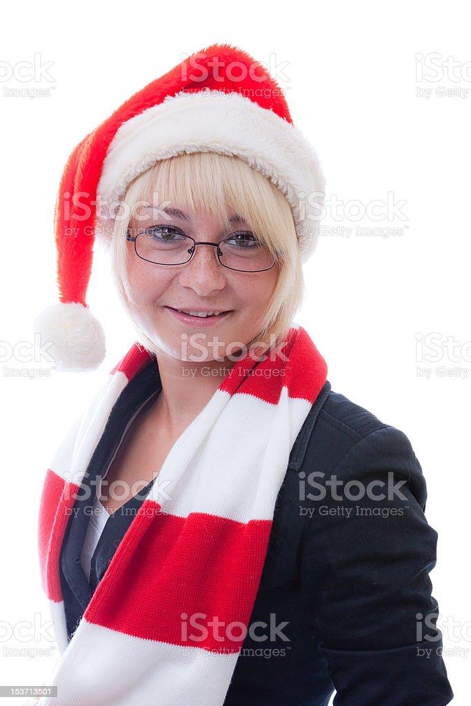 Santa girl isolated on white royalty-free stock photo