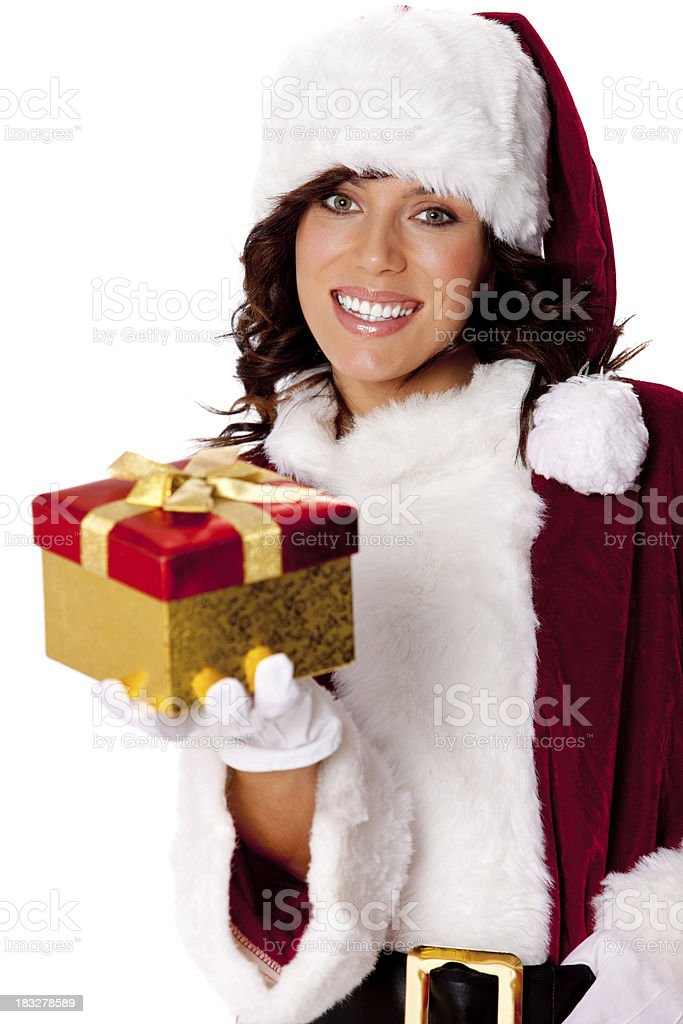 Santa girl isolated on white royalty-free stock photo