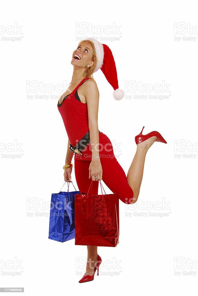 Santa girl shopping royalty-free stock photo