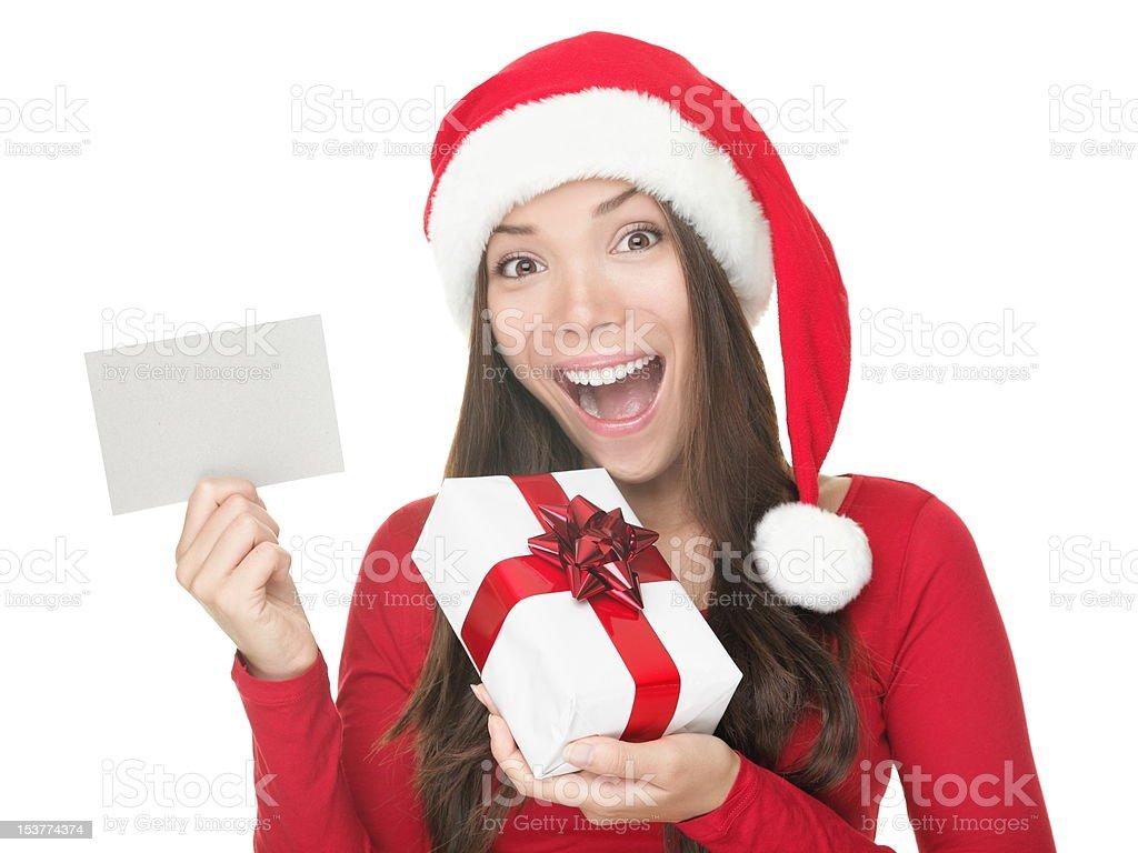 Santa girl showing blank sign royalty-free stock photo