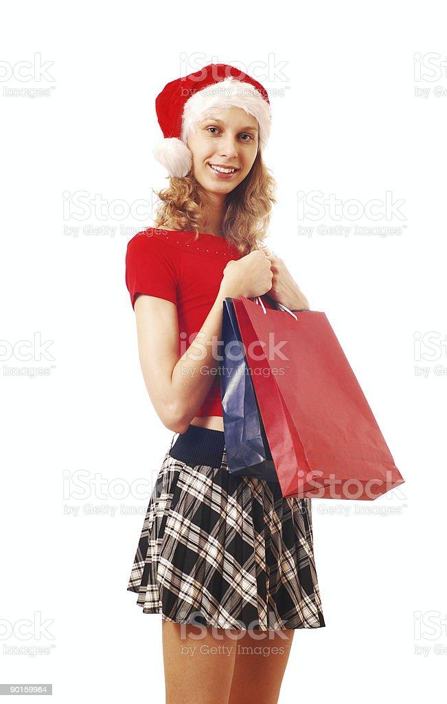 Santa Girl with bags royalty-free stock photo