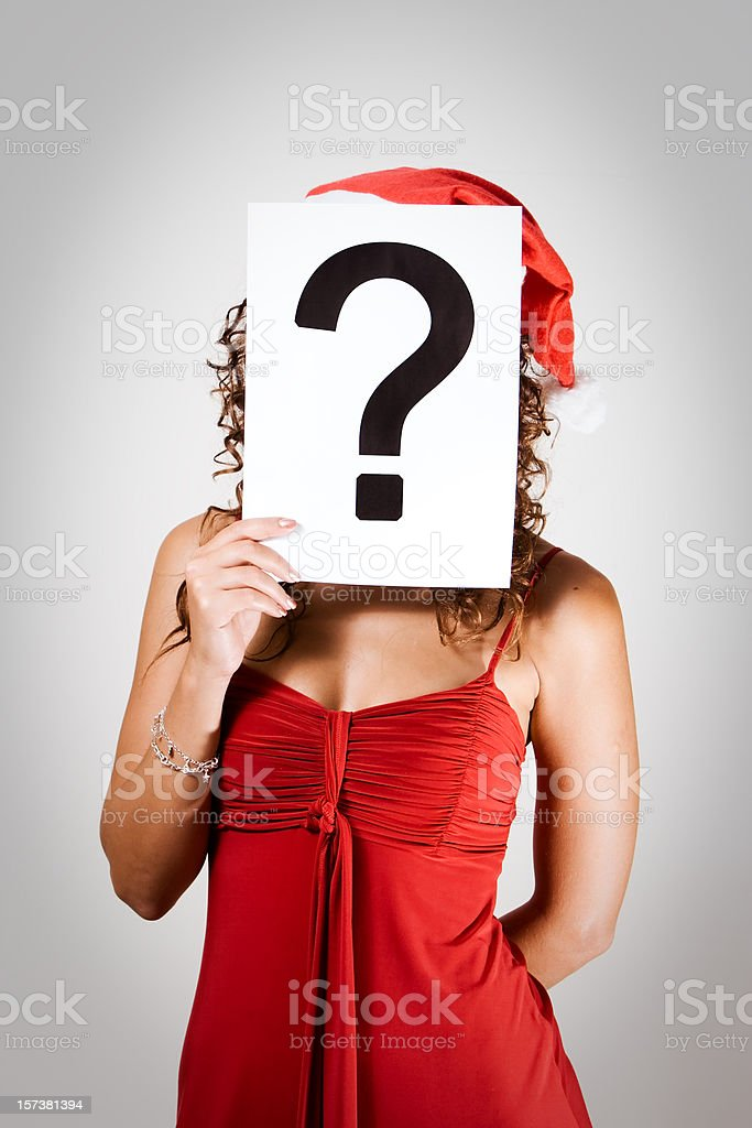 Santa Girlie with Question Mark stock photo