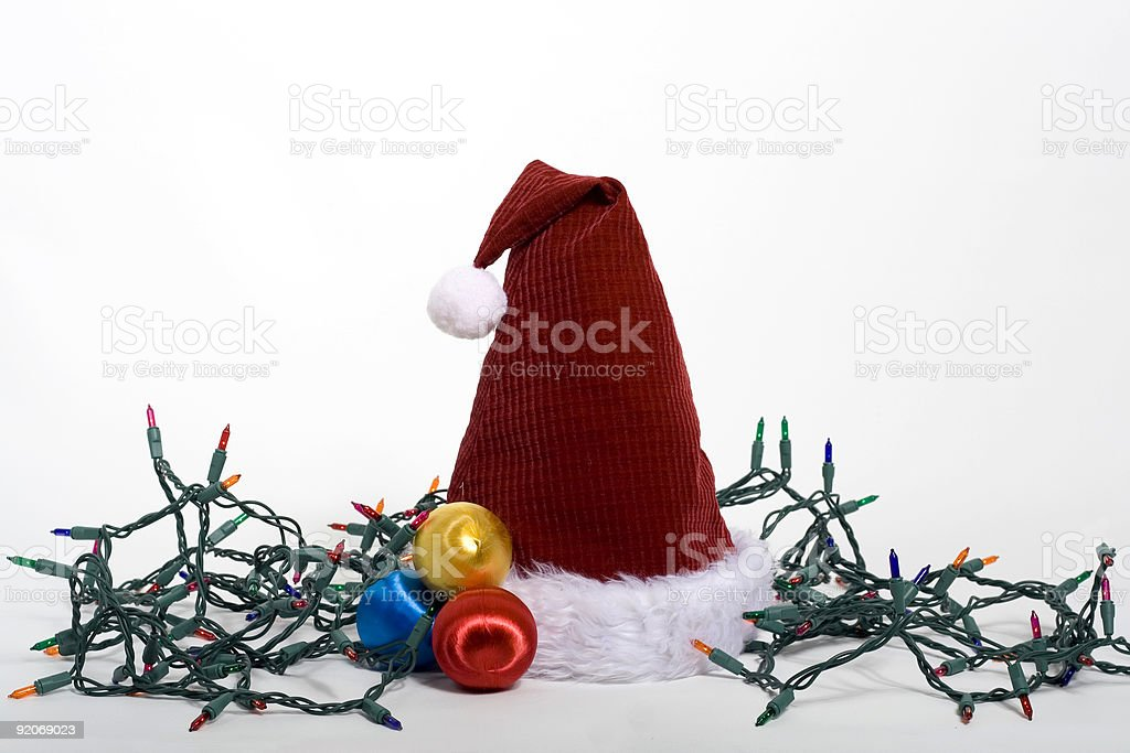 Santa Hat and Lights royalty-free stock photo