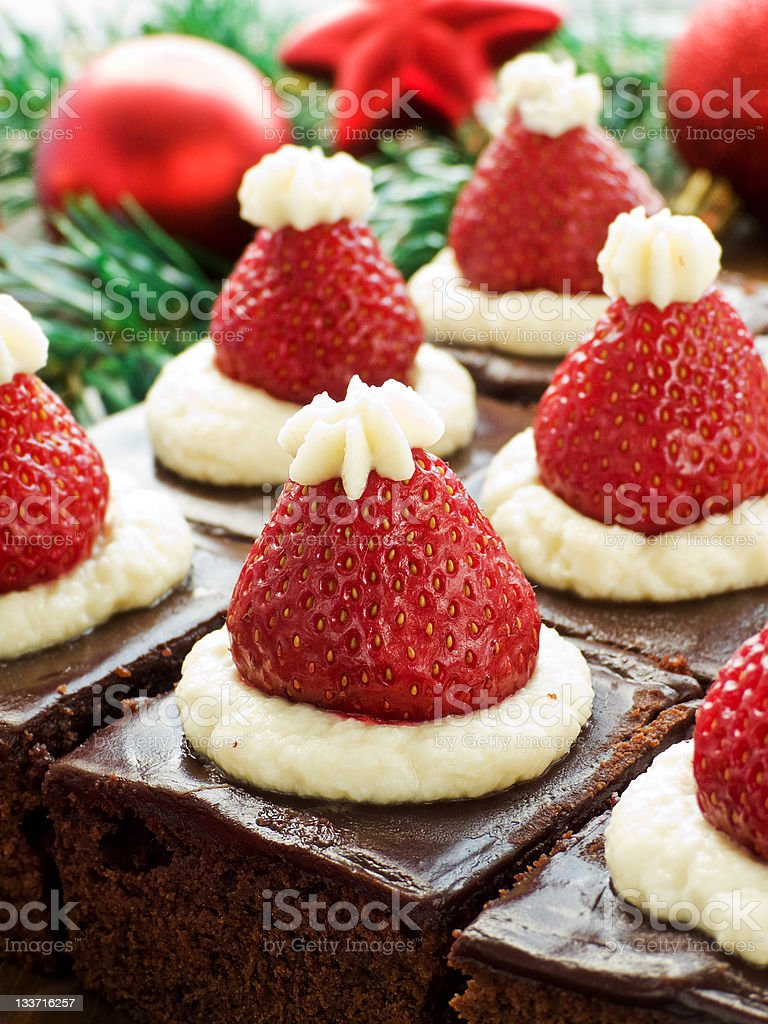 Santa hat brownies royalty-free stock photo