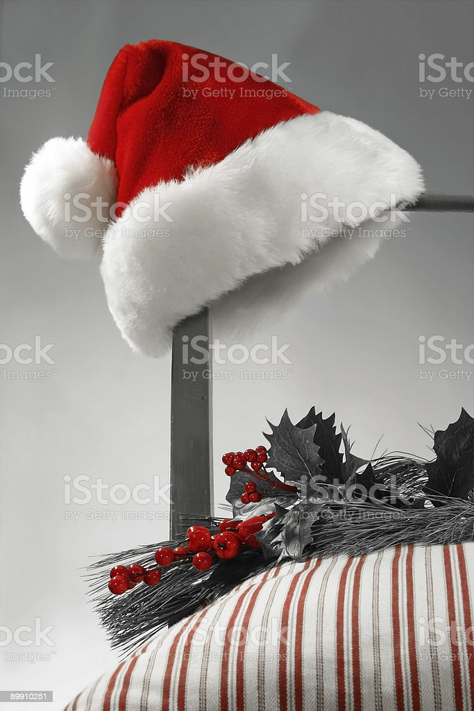 Santa Hat on a chair royalty-free stock photo