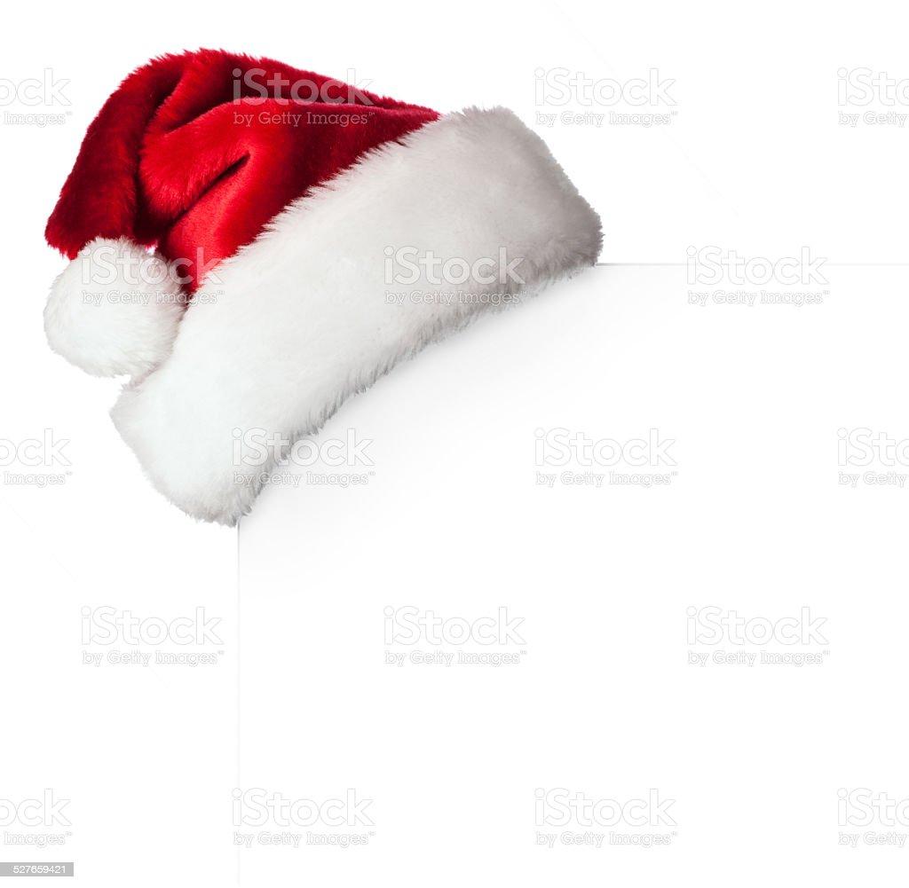 Santa hat on poster stock photo