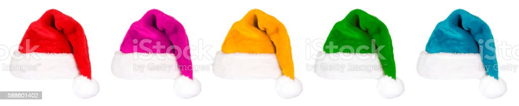 Santa Hats (multi colored) on white stock photo