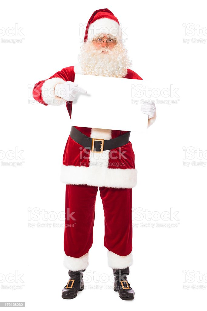 Santa holding blank placard royalty-free stock photo