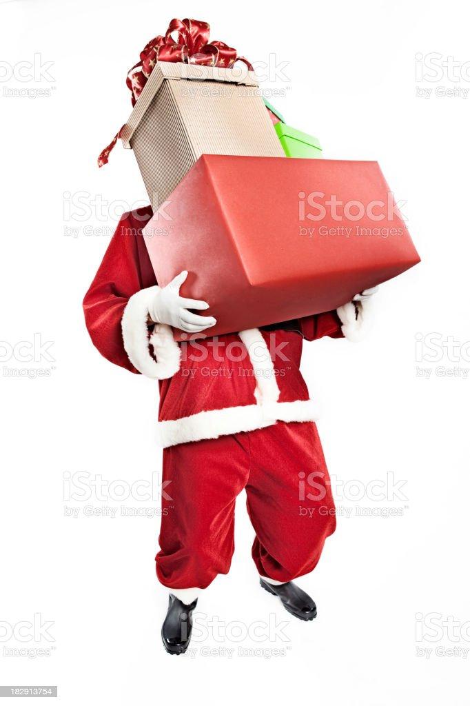 Santa holding presents royalty-free stock photo