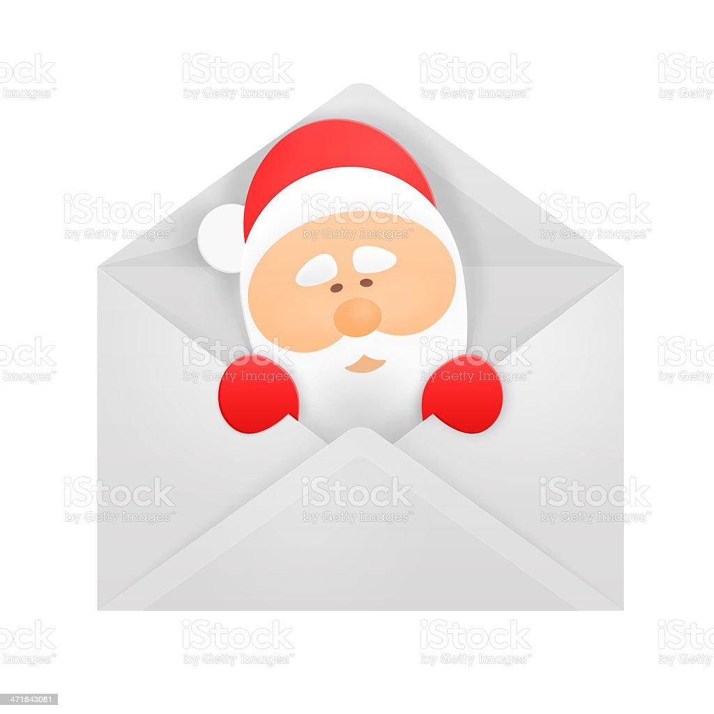 Santa in an envelope. royalty-free stock photo