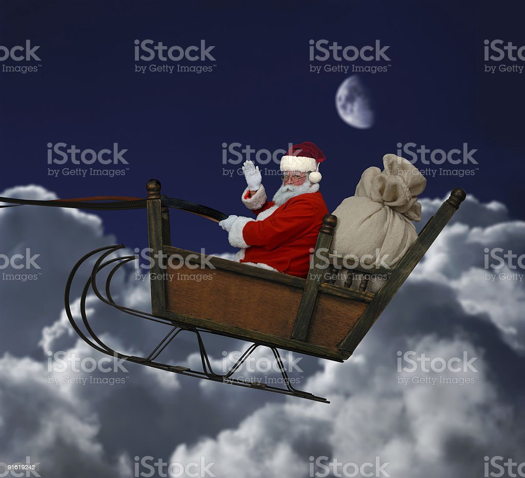 Santa in Flight stock photo
