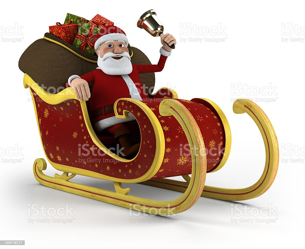 Santa in his sleigh royalty-free stock photo