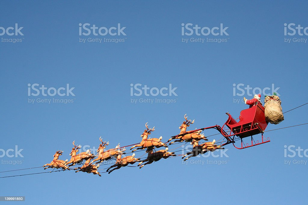 Santa in the Air stock photo