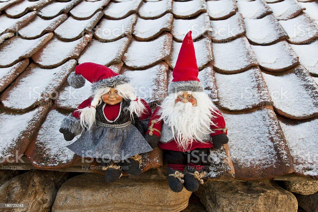 Santa in the pipe royalty-free stock photo