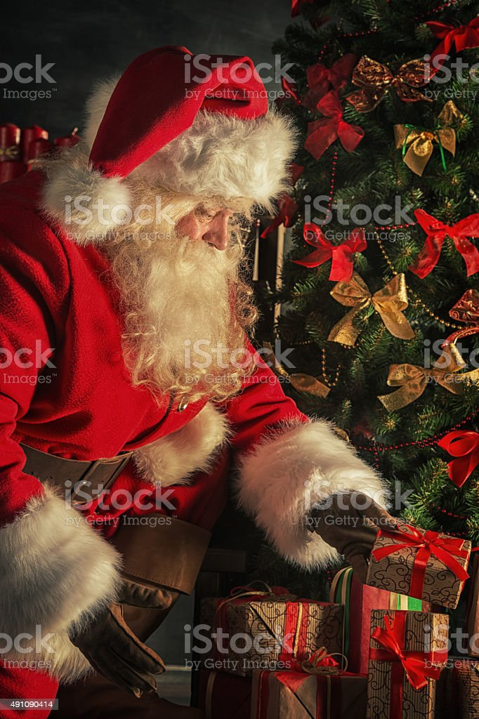 Santa is placing gift boxes under Christmas tree stock photo