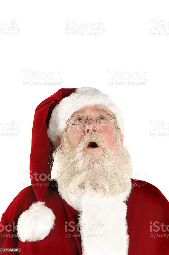 santa looking up royalty-free stock photo