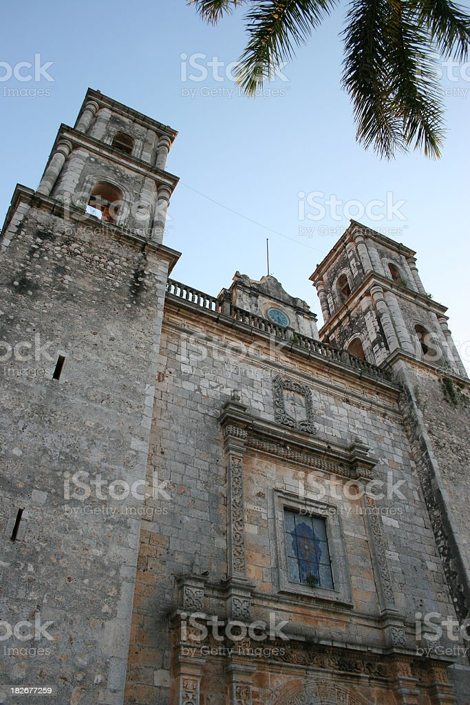 Santa Lucia Cathedral with palm stock photo
