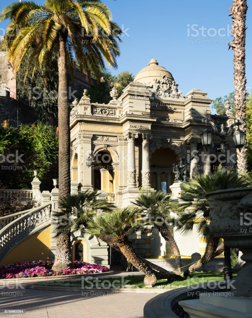 Santa Lucia Park on hill in capital of Chile stock photo