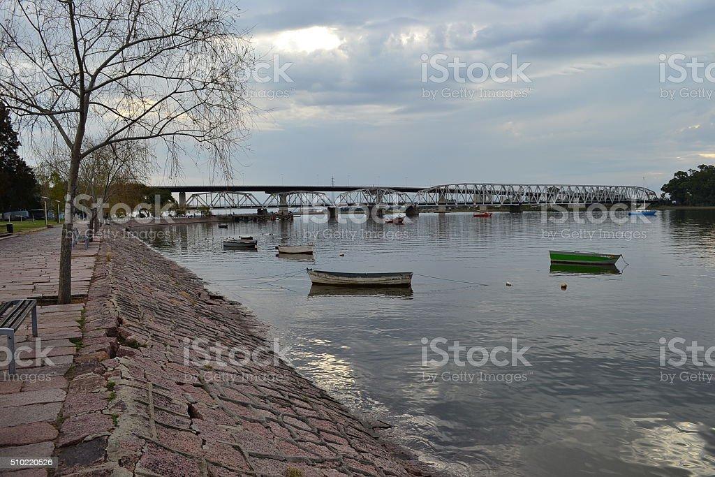 Santa Lucia river, Montevideo stock photo