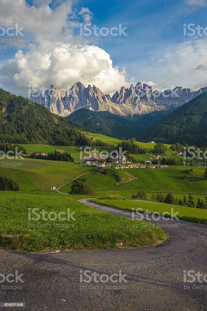 Santa Maddalena Village and the Dolomites, Val di Funes, Italy stock photo