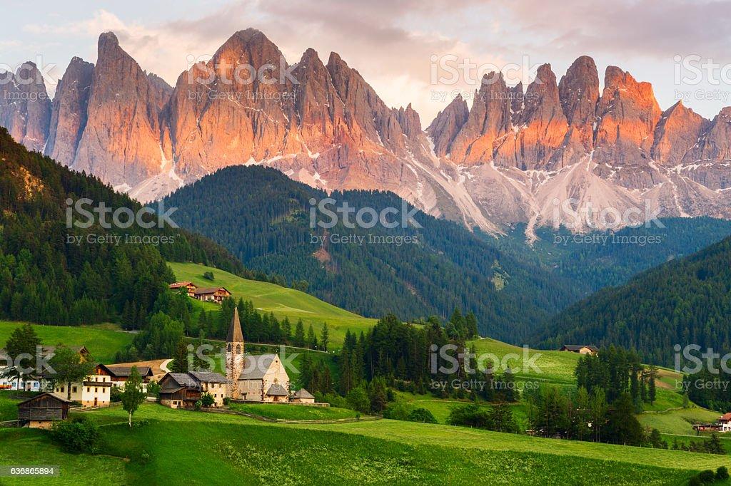 Santa Maddalena village, Italy stock photo