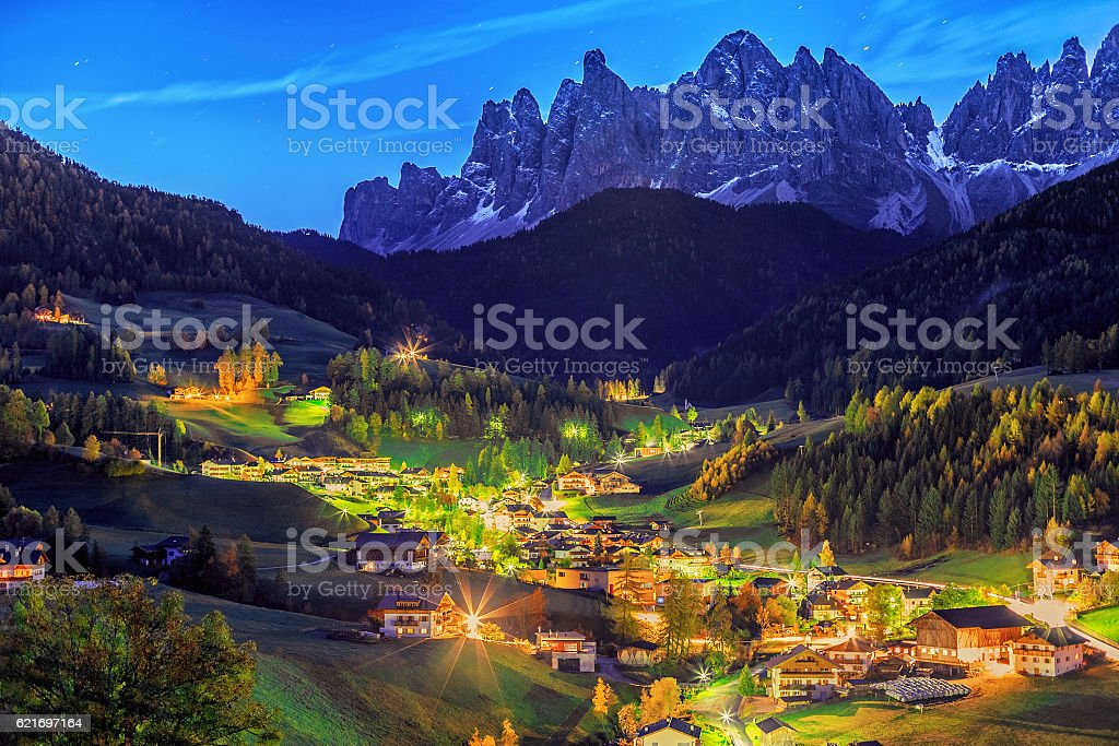 Santa Maddalena village, night scene, Dolomiti mountains. stock photo