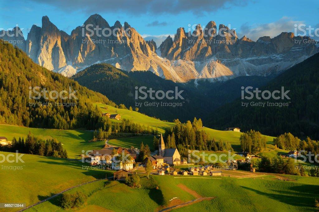 Santa Maddalena village stock photo