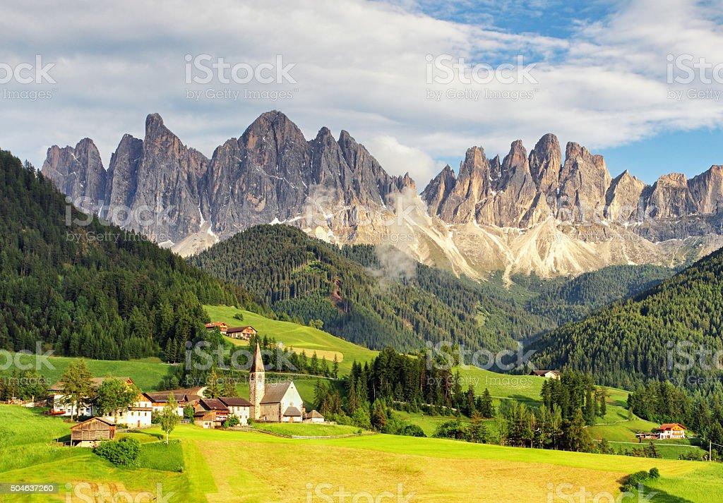 Santa Maddalena village, Val di Funes, Italy, Europe. stock photo