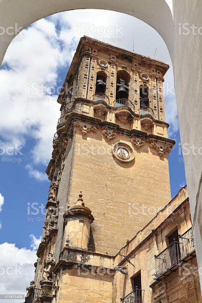 Santa María de la Asunción, Arcos Frontera, Spain stock photo