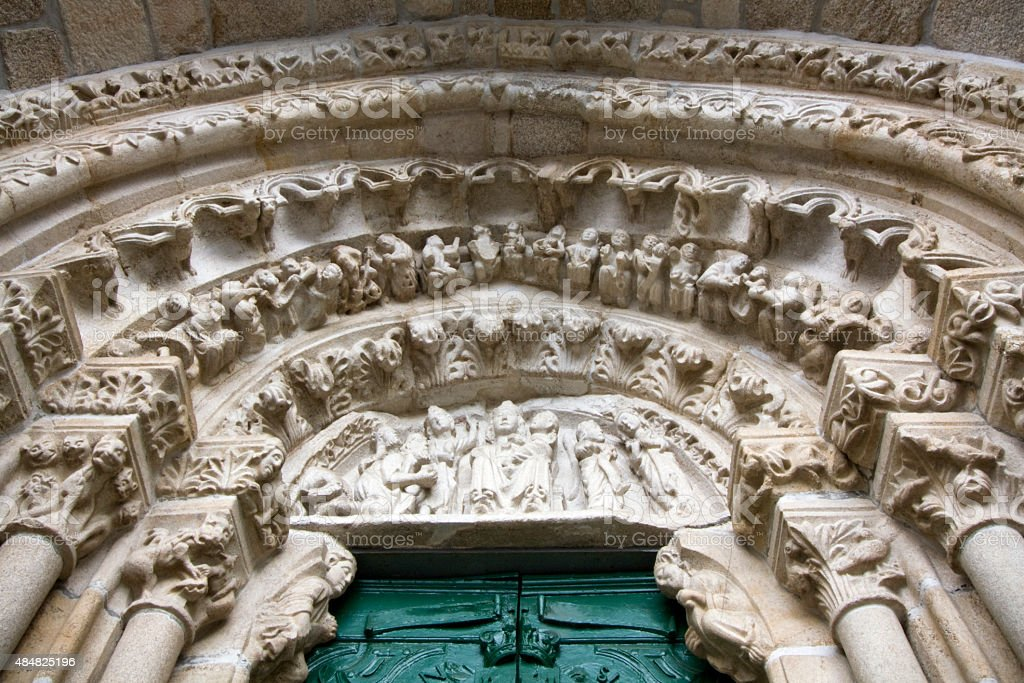 Santa Mar?a do Azogue church portico in Betanzos. stock photo