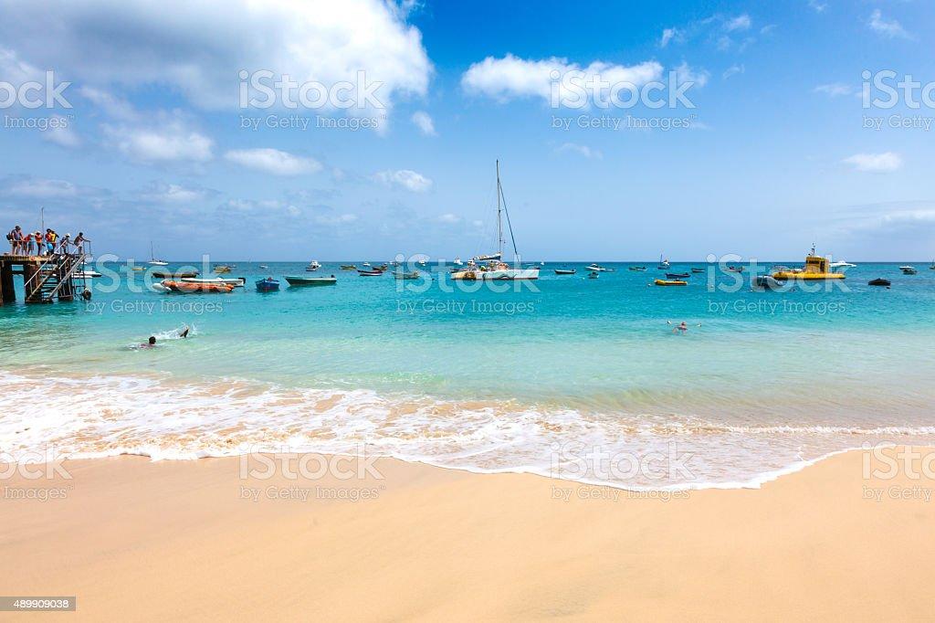 Santa Maria beach in Sal Island Cape Verde stock photo