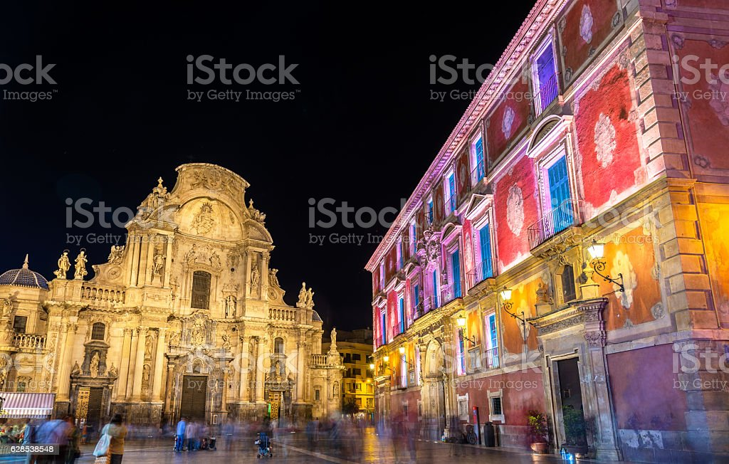 Santa Maria Cathedral and Episcopal Palace on Belluga Square in stock photo