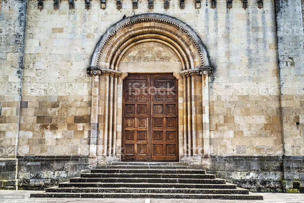Santa Maria cathedral front door stock photo