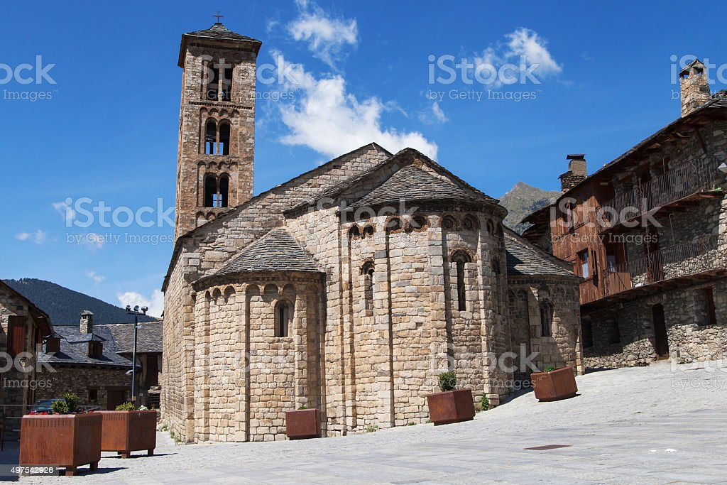 Santa Maria church in Taull stock photo