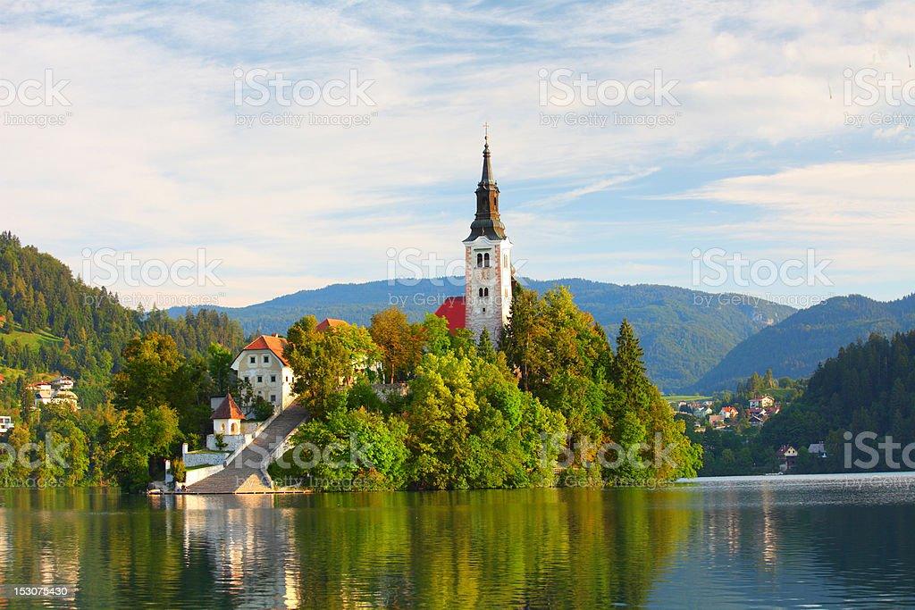 Santa Maria Church on Bled lake royalty-free stock photo