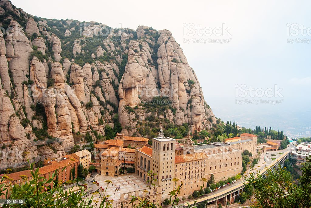Santa Maria de Montserrat Abbey in Monistrol de Montserrat, stock photo