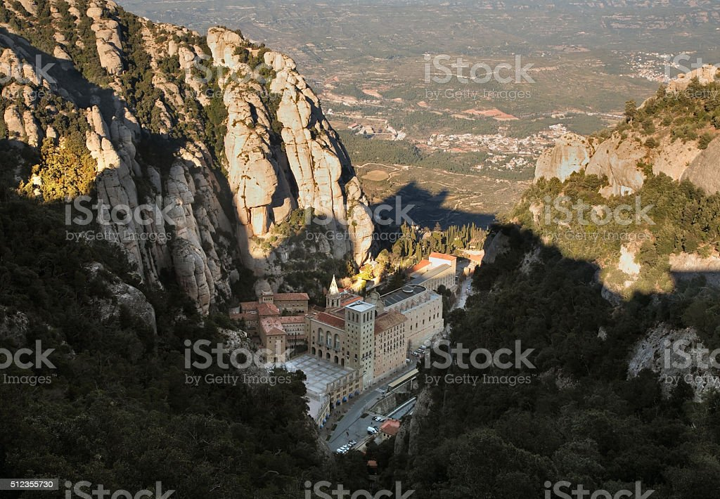 Santa Maria de Montserrat Abbey near Barcelona. Spain stock photo